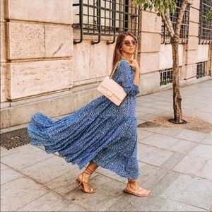 Zara printed maxi shirt dress